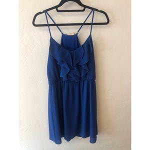 Francesca's gorgeous blue ruffled dress